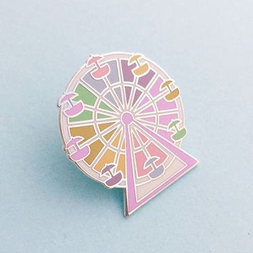 Pastel Rainbow Ferris Wheel Enamel Pin Badge, Lapel Pin, Tie Pin