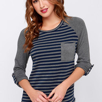 Bars and Stripes Grey and Navy Striped Top