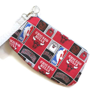Chicago Bulls Wristlet Chicago, Zipper Wristlet, convertible Wristlet, Chicago Bulls clutch,