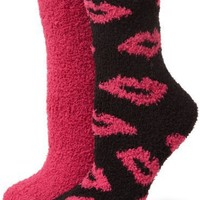 Betsey Johnson Women`s 2 Pack Lips Slipper Socks