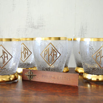 Vintage Monogrammed Glasses, Gold Rimmed, Vintage Glassware, Juice Glasses, Etched Glasses