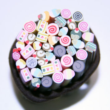 10 pcs Good Deals In the Box Polymer Clay Cane dessert sticks Mix for crafting, use your imagination