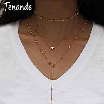 Tenande Simple Style Silver Color Multi Layer Beads Love Heart Chain Necklaces & Pendants for Women Jewelry Collier Bijoux