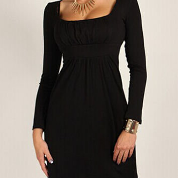 Black Ruched Square Neckline Long Sleeve High Waist Casual Dress