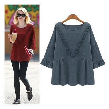 Stylish Pullover Casual Tops T-shirts [7322407873]