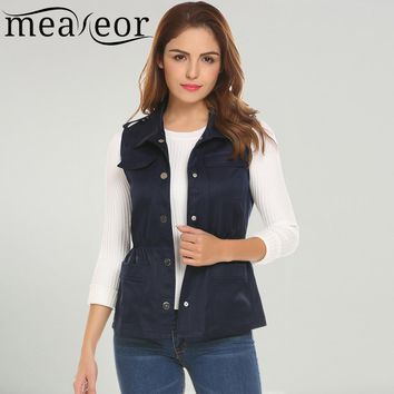 Meaneor Women Casual Sleeveless Single-breasted Military Vest with Pocket Lapel Collar Elastic Waist band Outwear Waistcoat Vest