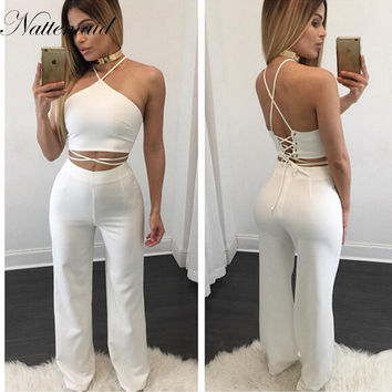 2016 Most Popular 2 pieces Set White Women Rompers Off the Shoulder Halter High Waist Elegant Jumpsuit Long Club Playsuit Black