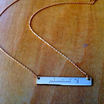 Customized Arabian Name Bar Necklace, Personalized Gold, Silver Necklace, Initial Bar Necklace, Silver, Rose or Gold Name Bar