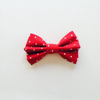 Red and Small White Polkadot Hairbow, polka dot bow, girls hairbow, fabric bow, sock bun bow