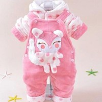 Baby girl  boy cartoon warm clothing sets hoodie overalls  baby suit