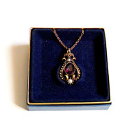 Vintage Avon Queensbury Pendant Necklace Purple Rhinestone Faux Pearl Gold Tone Antiqued New in Box