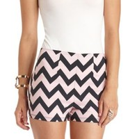 Chevron Printed High-Waisted Shorts by Charlotte Russe - Black Combo
