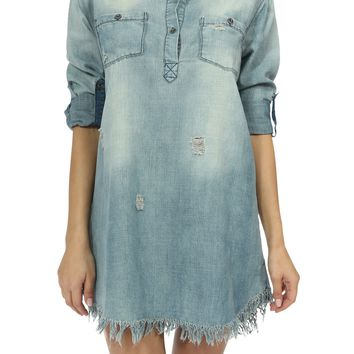 Teeze Me | 3/4 Sleeve Collared Half-Placket Distressed Shirt Dress | Denim