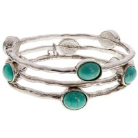 Women's JWest and Co. Three Silver Bangles with Turquoise Ovals