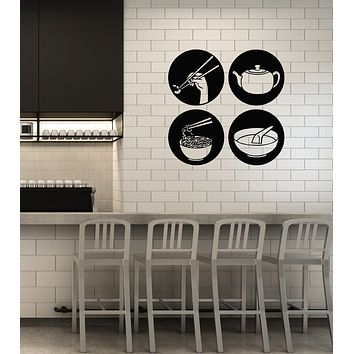 Vinyl Wall Decal Asian Food Japanese Cuisine Kitchen Restaurant Decoration Stickers Mural (ig6016)