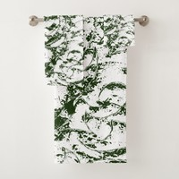 Green Vine Stylized Modern Ornament Bath Towel Set