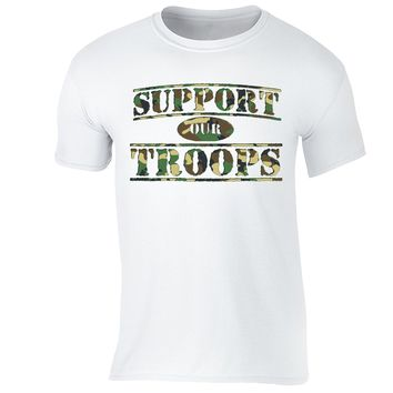 XtraFly Apparel Men's Support Our Troops Camo Military Pow Mia Crewneck Short Sleeve T-shirt