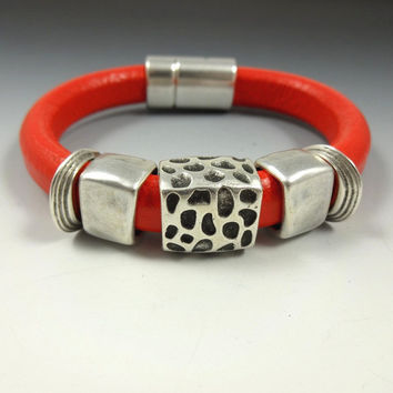 Red Leather Bracelet Antique Silver Metals