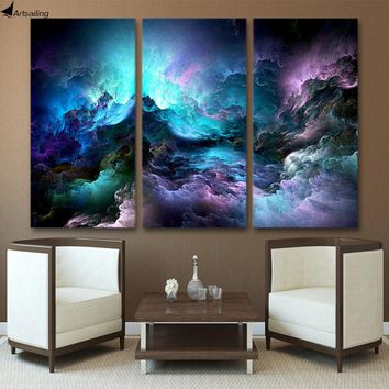 ArtSailing HD Printed 3 piece canvas art abstract psychedelic art space cloud Painting wall art painting pieces print