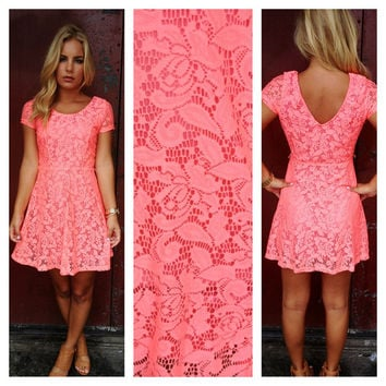 58af0e8abf Neon Coral Babydoll Lace Dress from Dainty Hooligan | Epic