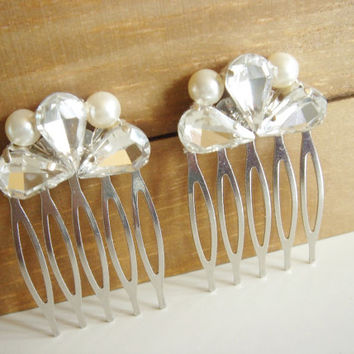 Venah Set of 2 Vintage Inspired Victorian Rhinestone and Pearl Hair Comb, Fairy tale Wedding, Heirloom Hair Comb, Art Deco Hair Comb