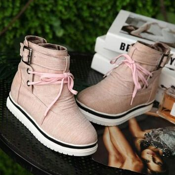 New Pink Round Toe Flat Cross Strap Fashion Ankle Boots