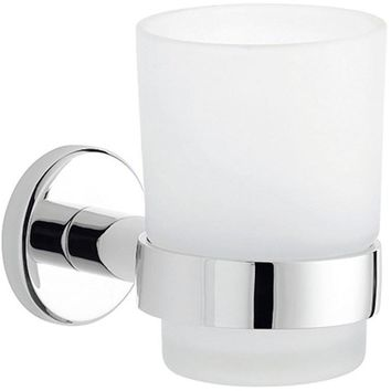 Lux Atlanta Wall Frosted Glass Toothbrush Toothpaste Holder Tumbler Bath, Brass