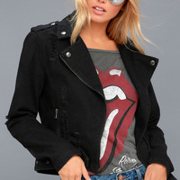 Revved Up Black Denim Moto Jacket