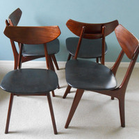 Mid Century Danish Modern Dining Chairs Set of 4 Sculptural