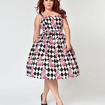 Hell Bunny Plus Size Black & Pink Harlequin Floral Swing Dress