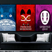 Studio Ghibli  colorful poster set, My Neighbor Totoro poster , Spirited Away poster, Princess Mononoke poster, Hayao Miyazaki art