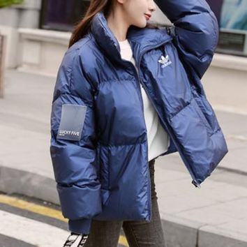 """Adidas"" Women Fashion Long Sleeve Upright Neck Cotton-padded Clothes Coat"