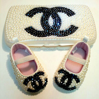 Pearl Dazzled CC Baby Wipe Case and Shoes Set