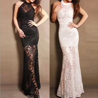 HOT!!New Fashion Women See Through Lace Chffion Evening Dress Club Lace Dress One Size 2 colors(Black/White) = 5709716481