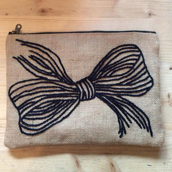 Burlap bow clutch bag, hand embroidered ,accessories pouch, handmade pouch, travel accessories pouch, unique Christmas gift