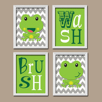 FROG Child Bathroom Wall Art Canvas Artwork Girl Boy Brother Sister Child Kid Set of 4 Wash Brush Chevron Decor Child Shower Curtain Match