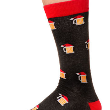 Men's Holly Jolly Beer Mug Crew Socks