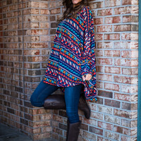 Have It All Tunic, Navy/Coral