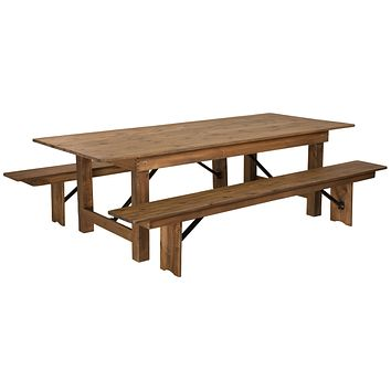 "HERCULES Series 8' x 40"" Folding Farm Table and Two Bench Set"