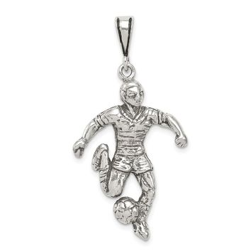 925 Sterling Silver Antiqued Soccer Player Charm and Pendant
