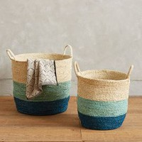 Handmade Grass Baskets by Anthropologie in Blue Motif Size: Set Of 2 House & Home