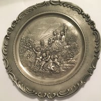 Vintage Frieling-Zinn Pewter Plate, German Pewter, Wall Hanging, High Relief, Pewter Plate, Metal Plate, Collector Plate, Pewter Art