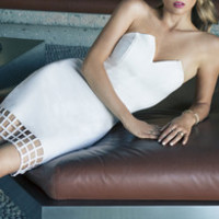 LULUS Exclusive Grid Point Average Strapless Ivory Dress