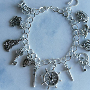 Once Upon A Time Charm Bracelet-Captain Hook,Rumpelstiltskin,Snow White,Evil Queen,CinderellaTinker Bell,Neverland, Rose,Belle,Keys,Crowns,