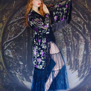 Silk velvet hippie kimono / black with vivid purple fringed duster /  Devore opera coat deco Gatsby Stevie Nicks style