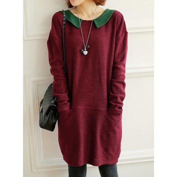 Vintage Peter Pan Collar Long Sleeve Color Block Knitted Women's Dress