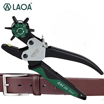 LAOA Sewing Leather Canvas Belt Punch Tool Snap pliers Guitar Pick Puncher Punching Holes On Paper Forceps 6 size punch head