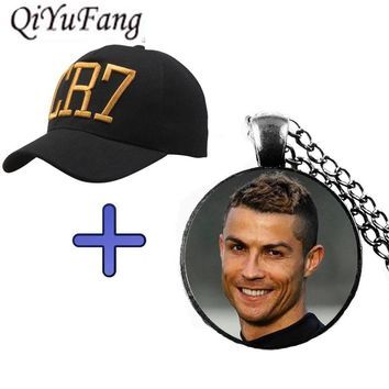 QiYuFang New 2018 Cristiano Ronaldo CR7 Necklace Pendant Jewelry Glass Cabochon Gift Cap For Fans Mens Women Children