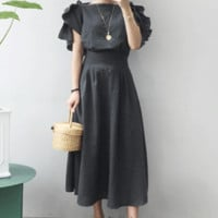 Bateau Neck Ruffle Sleeve Midaxi Dress