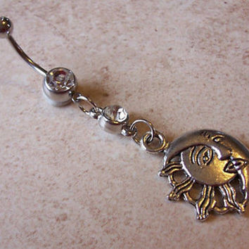 Tribal Sun and Moon Belly Ring with Rhinestone Body Jewelry 14ga